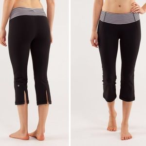 Lululemon Black/ Striped Gather & Grow Crops